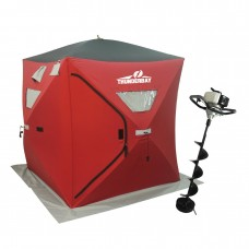 33cc Power Ice Auger and Portable Two Man Shelter Combo